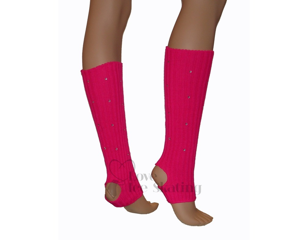Fucsia Leg Warmers With Rhinestones - Love Ice Skating