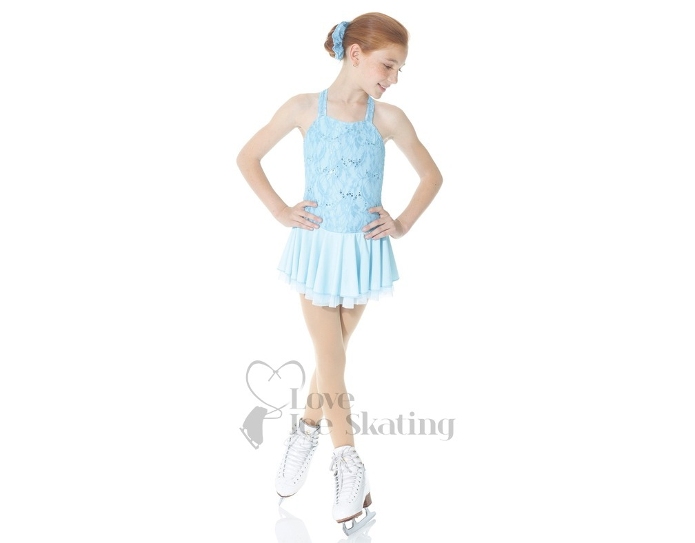 Mondor Blue Lace Figure Skating Dress - Love Ice Skating