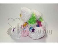 Fuzzy Soakers White, Lime & Light Pink with Rainbow Dots
