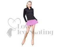 Chloe Noel A-Line Ice Skating Skirt Fuchsia Dot