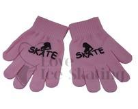 Pink Ice Skate Logo Stamped Magic Stretch Gloves