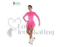 Ice Skating Dress Velvet Fluorescent Pink by Tappers and Pointers