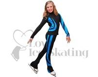 Chloe Noel Swirls Ice Skating Leggings P26 Turquoise with Swarovski Crystals