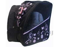 Ice Skate Bag Backpack Pink Glitter Flowers Print