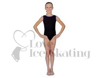 Chloe Noel Black Leotard GL111 with Purple Contrast Binding