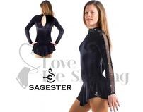 Sagester Black Figure Skating Test Dress with Swarovski AB Crystals