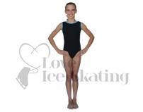 Chloe Noel Black Leotard GL111 with Turquoise Contrast Binding