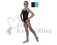 Chloe Noel Leotard GL317 Black with Contrast Straps in Turquoise