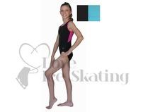 Chloe Noel Leotard GL212 Black with Contrast Binding in Turquoise Adult Large