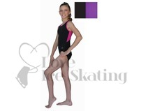 Chloe Noel Leotard GL212 Black with Contrast Binding in Purple