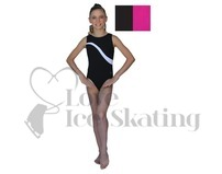 Chloe Noel Black Leotard GL148 with Royal Blue Stripe and Crystals