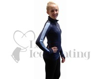 JIV Figure Skating Training Jacket Blue with Light Blue Stripe