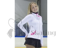 Figure Ice Skating Training Jacket White with Pink