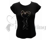 Intermezzo Black Figure Skate T-Shirt with Rhinestones