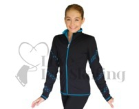 Chloe Noel JS96 Figure Skating Jacket with Turquoise Crystal Spiral