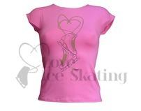 Intermezzo Pink Ice Skate T-Shirt with Rhinestones