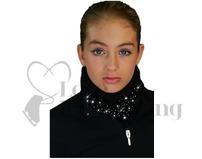 Chloe Noel Black Polar Fleece Circular Scarf with AB Crystals