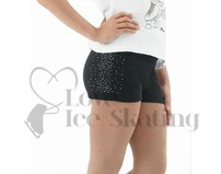 Black Figure Skating Shorts  Rhinestones Down One Side
