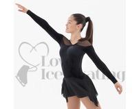 Black Velvet Ice Skating Dress with Glitter Mesh by Intermezzo