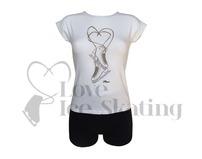 Intermezzo White Figure Skate T-Shirt with Rhinestones