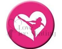 Figure Skating Spiral Pink Heart badge