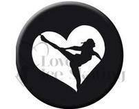Figure Skating Spiral Black Heart badge