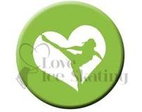 Figure Skating Spiral Green Heart badge