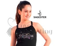 Sagester 019 Black Camisole Ice Skating Top with Rhinestone Crystals Adult Large