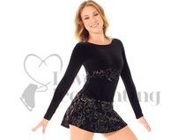 Black Velvet Ice Skating Dress with Gold Glitter Floral Design by Mondor 12907