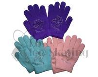 Ice Skating Pink Gloves with Rhinestone Skates Age 3-6years