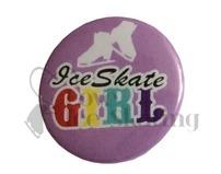 Ice Skate girl rainbow on lilac badge