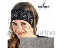 Sagester White Ice Skating Headband with Swarovski Crystals
