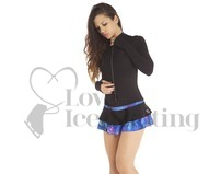 Thuono Thermal Ice Skating Dress Glitter Explosion Blue with Crystal Zipper Extra Small