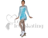 Blue Iceberg Sparkle Velvet Ice Skating Dress with Swarovski Crystals DLV603 -SIC by ChloeNoel
