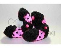 Fuzzy Soakers Black and Hot Pink Polka Dots