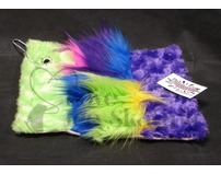 Fuzzy Soaker Towel Purple and Lime with Blue, Purple and Lime Crazy Fur