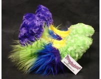 Fuzzy Soakers Purple and Lime with Blue, Purple and Green Crazy Fur