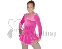 Chloe Noel Velvet Ice Skating Dress DLV688 Circle Folly Pink