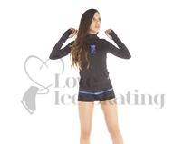 Thuono Bioceramic Long Sleeve Ice Skating Training Top Glitter Explosion Blue