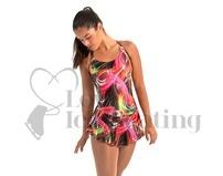 Intermezzo Sleeveless Multi Coloured Swirl Ice Skating Dress