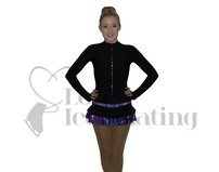 Ice Skating Dress Thermal Glitter Explosion Violet with Crystal Zipper