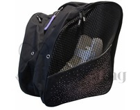 Black Ice Skating Bag Backpack with Light Purple Rhinestone Spray
