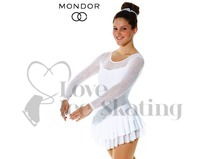 White Sparkling Mesh Ice Skating Dress Mondor 636