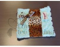 Fuzzy Soaker Aqua Mint Blue Fur Cheetah Print Towel