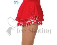 Figure Skating Skirt by Jerrys 304 Red & Silver Glitter Adult Medium