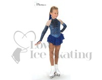 Blue with Silver Glitter Swirls Ice Skating Dress by Jerrys