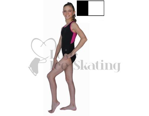 Chloe Noel Leotard GL212 Black with Contrast Binding in White