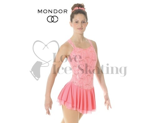 Mondor 12916 Coral Pink Lace Figure Skating Dress