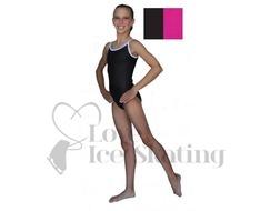 Chloe Noel Leotard GL317 Black with Contrast Straps in Fuchsia