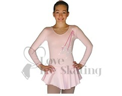 DLP728-Pink Dress with Rhinestone Skates